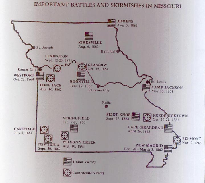 Map of Missouri Battle Sites